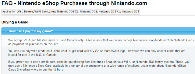 Nintendo eShop purchases FAQ Nintendo.com credit card can I use eShop funds