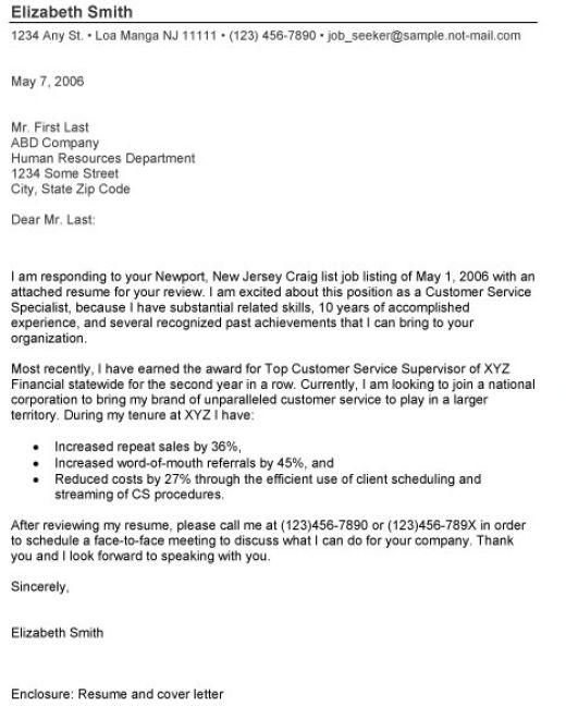 Cover Letter: Cover Letter Format