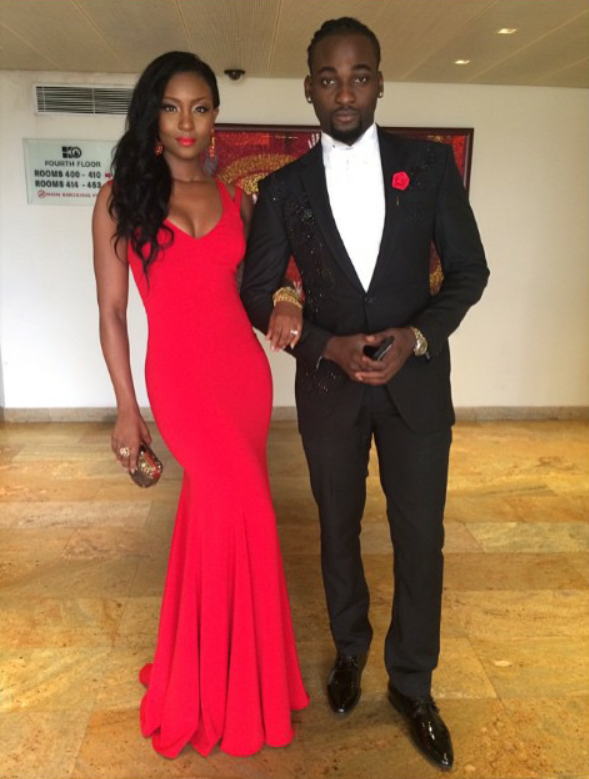 Image result for Osas Ighodaro and Gbenro Ajibade on Red carpet