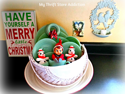 A Holly Jolly Jadeite Kitchen mythriftstoreaddiction.blogspot.com A basket full of jadeite with vintage elf and snowman tucked inside