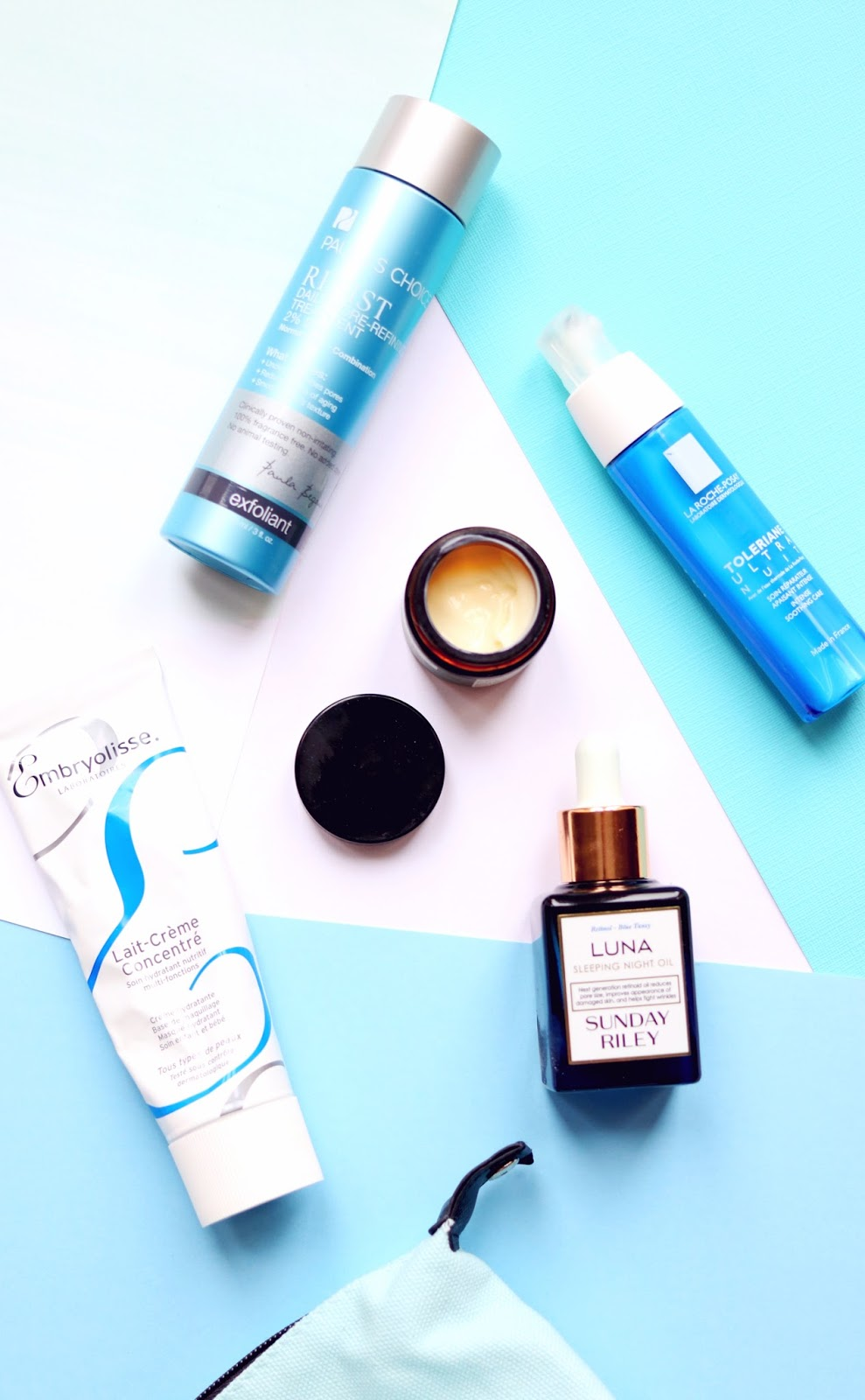 Skincare products featuring Embryolisse, Antipodes, Paula's Choice, La Roche-Posay and Sunday Riley
