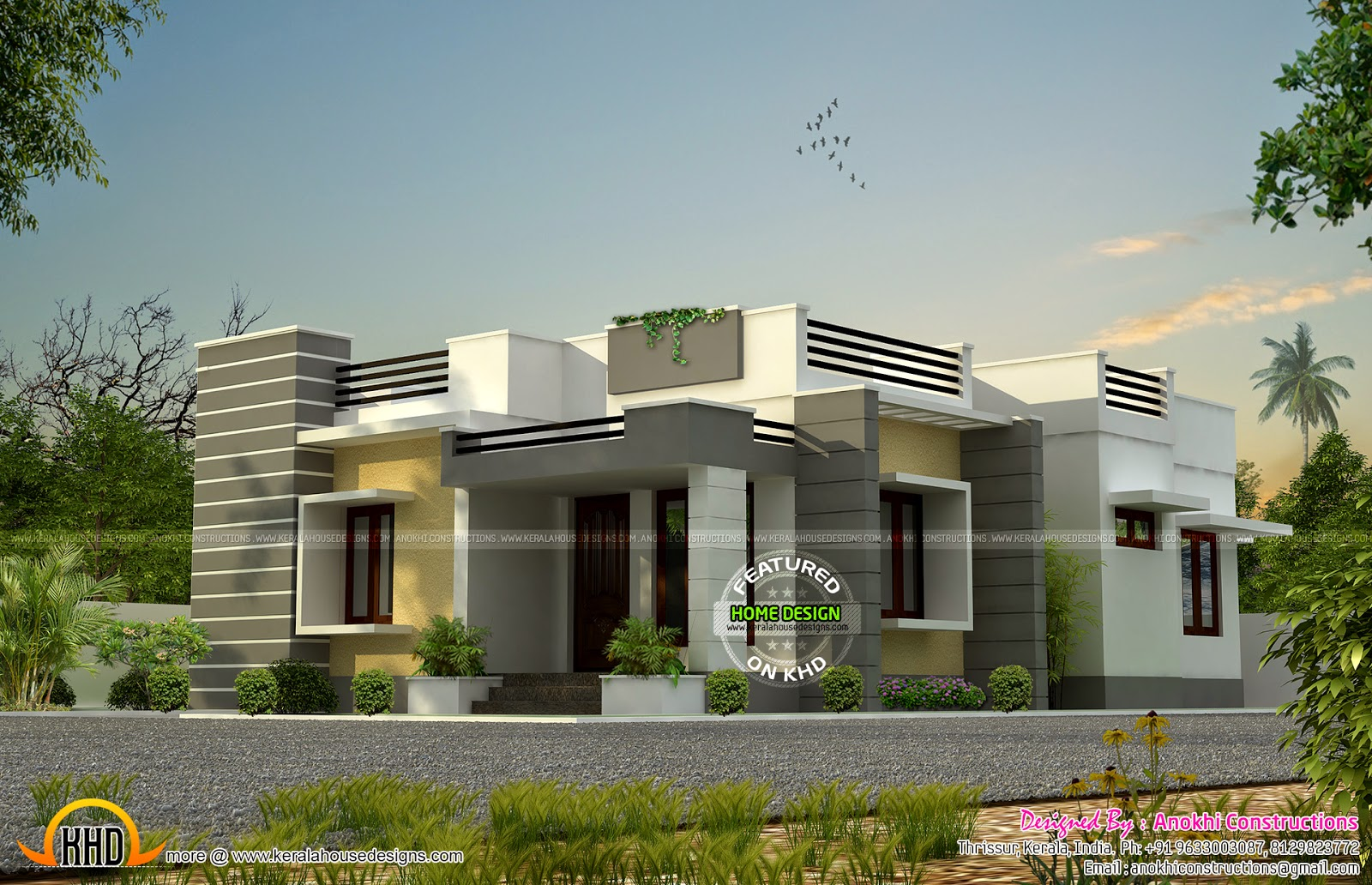 Single Floor East Facing Elevation : Nice budget house design kerala home and floor plans