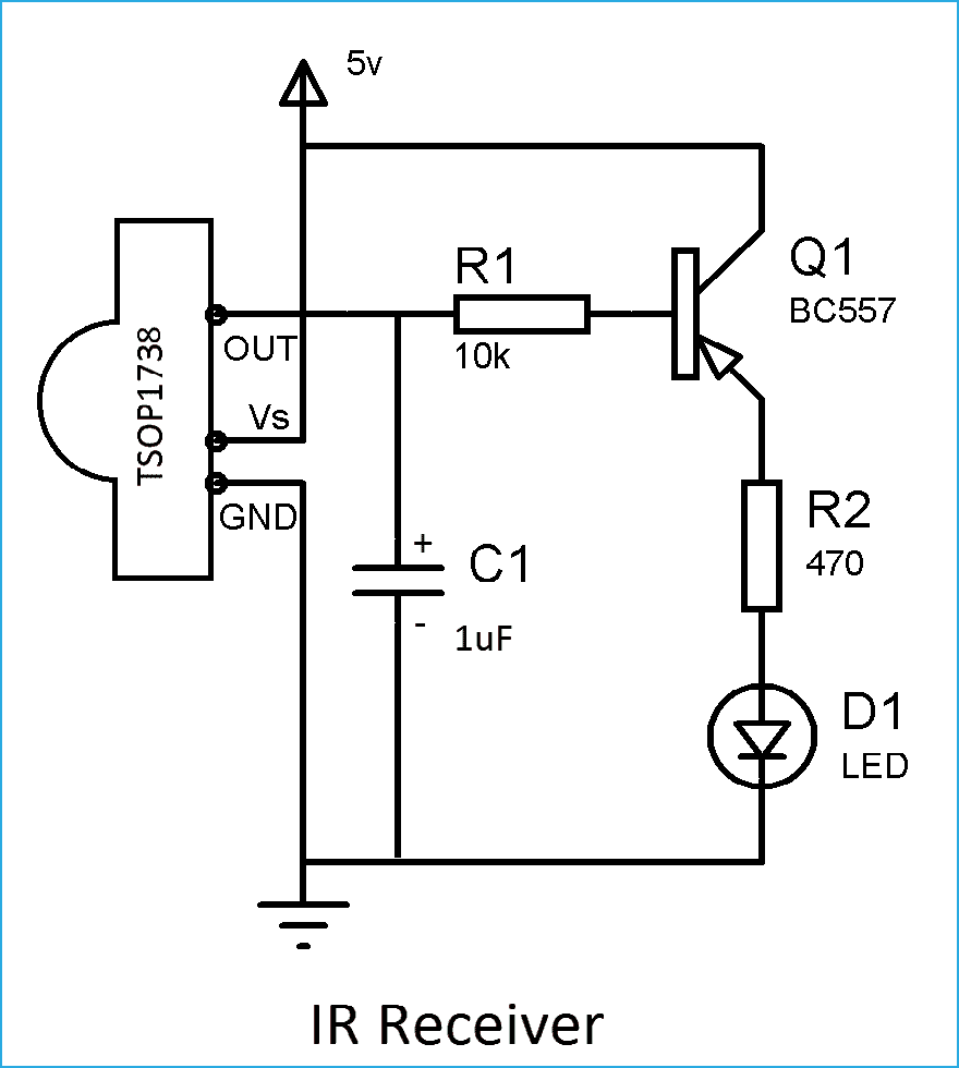 March 2016 Electrodone Led Optocoupler Circuit So Whenever We Press The Button At Ir Transmitter It Is Detected By Tsop1738 And Will Glow
