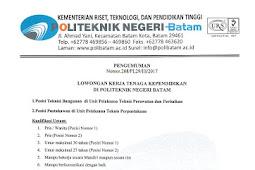 Lowongan Kerja Tenaga Kependidikan Politeknik Negeri Batam (POLIBAN) Tahun 2017