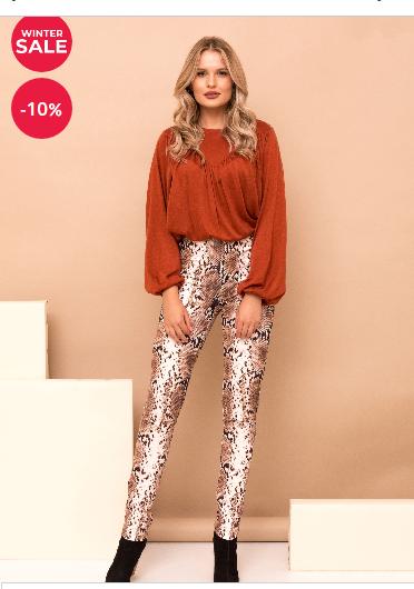 Pantaloni dama snke print maro lungi cu talie inalta si elastic in talie la moda