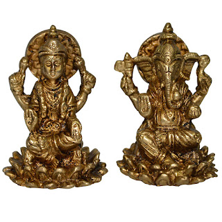 DronaCraft Tiny Goddess Laxmi and Lord Ganesha Brass Statues