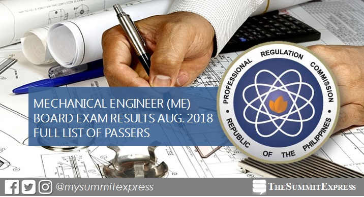 August 2018 Mechanical Engineer ME, CPM board exam list of passers, top 10