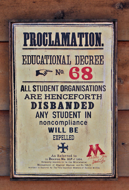 Handmade Harry Potter Educational Decree Sign