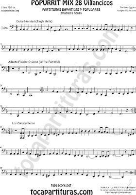 Tuba Elicón (o Bajo Metal) Partitura Mix 28 Sheet Music for TubaPartituras de Dulce Navidad, Adeste Fideles y Los Campanilleos Villancicos CLAVE DE FA 8ª BAJA
