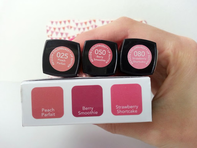 revlon color burst : peach parfait, berry smoothie, strawberry shortcake