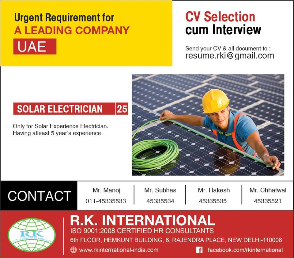 Solar Electrician for UAE CV Selection