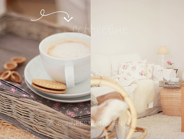 Warm autumn living room with coffee, biscuits and Tilda serviettes - Glorious Shabby Chic Living Room Inspiration You Will Love!
