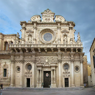 The elaborately decorated facade of the Basilica di Santa Croce, one of many fine buildings in Lecce