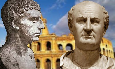 Busts of Flavius Josephus and Vespasian in front of the Roman Coliseum