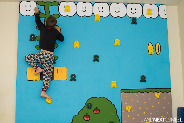 Find out how to build a climbing wall indoors for kids with this DIY Super Mario themed climbing wall tutorial