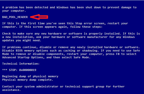Bad_Pool_Header Error in Windows 7/8/8.1