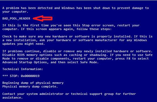 Bad_Pool_Header Error in Windows 7/8/8.1