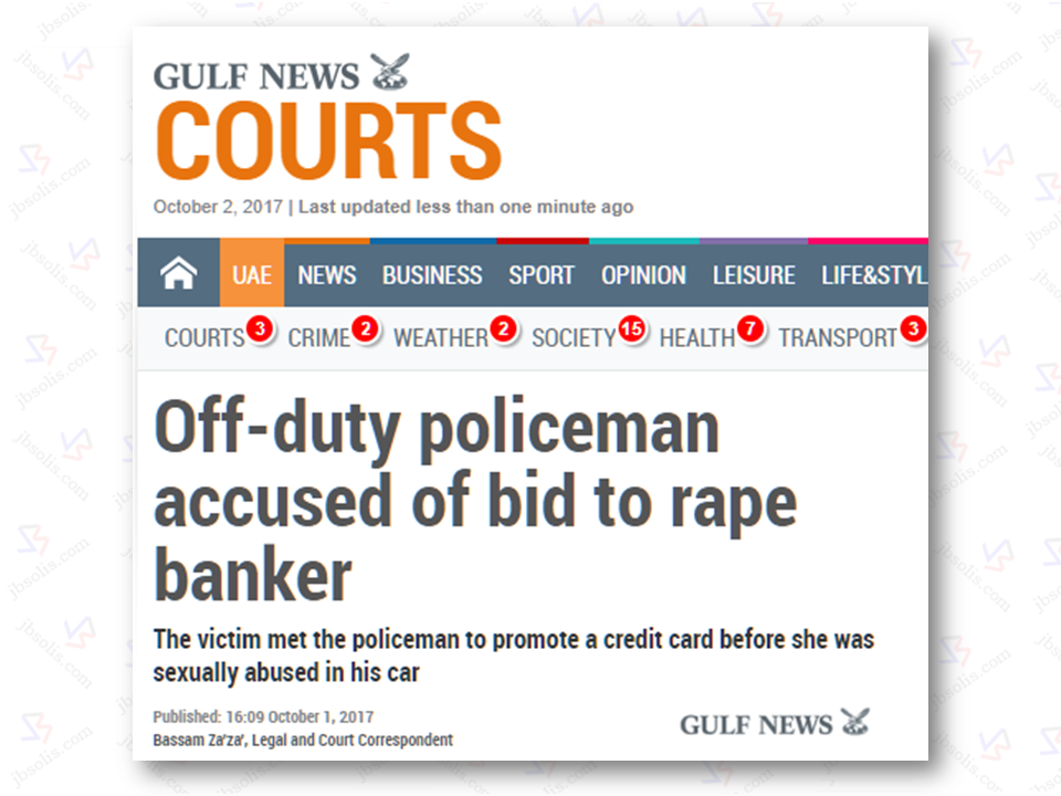 "A  bank employee in Dubai accused a Yemeni police officer in Dubai for sexually harassing her inside the suspect's car. the suspect has pleaded not guilty when he appeared before the Court of First Instance on  October 1.  The victim,  Filipina, 26,  said she met with the suspect in a coffee shop in Deira to promote their bank's new credit card in May, as reported by Gulf News.  Court records show that the Filipina said the policeman  said that he wanted to finish the transaction at the bank where she  is working to make sure it wasn't a scam. He then escorted her to his car. On the way to the bank, the policeman purposely missed the turn to the bank, kept driving  and pulled over to  a parking lot where he did the lascivious crime.  Sponsored Links  ""He moved to the back seat where I was sitting and undressed me forcibly. He coerced me to perform oral sex on him. He also abused me sexually when he failed to rape me. After he dropped me at a petrol station to wash up, I locked myself inside a washroom and called my friend for help,"" the Filipina said.  A police officer testified in the court and said the suspect is denying the charges against him, saying it all happened with the Filipina's  own free will.  ""During questioning, the suspect claimed that the saleswoman performed  oral sex on him and massaged him,"" the police lieutenant said. The suspect is yet to be convicted and will be decided on next hearing which is scheduled on October 29, 2017. Source: Gulf news   Advertisement Read More:      ©2017 THOUGHTSKOTO"