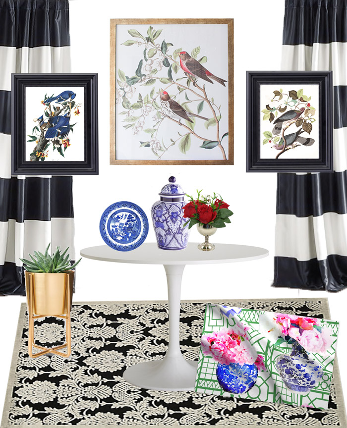 Black And White Striped Curtains And Botanical And Audubon Prints Serve As  The Inspiration For A