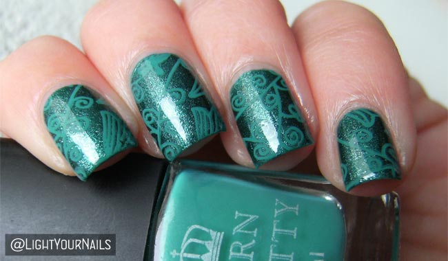 Green nail art with Astra and BP-107 stamping plate