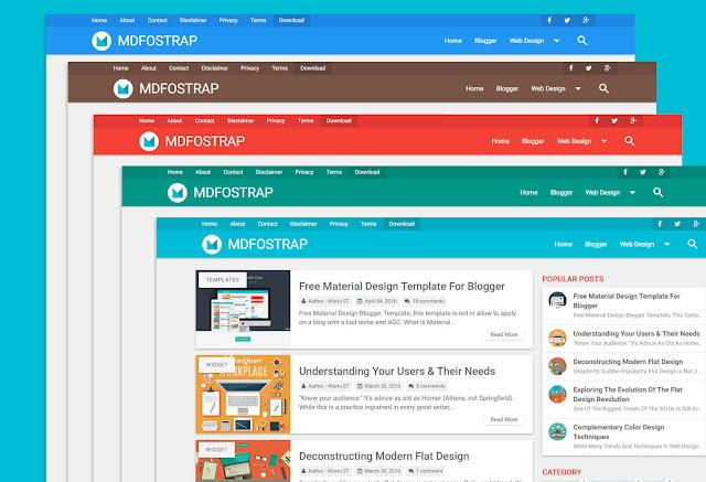 Download Template Blogger MDFostrap Material Design Full Responsive