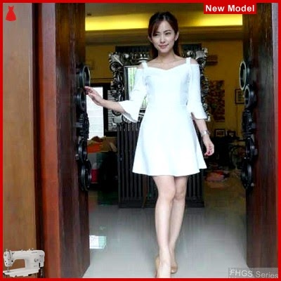 FHGS9056 Model Dress Manohara BW, Dress Pakaian Perempuan Wolly BMG