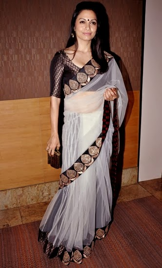 Bollywood  white netted saree