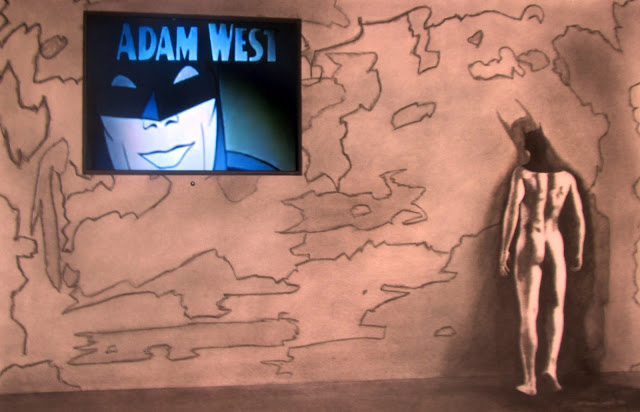 The Batman Brooding - Charcoal, conte and appropriated vintage video on paper 24x36, circa 2017 by F. Lennox Campello