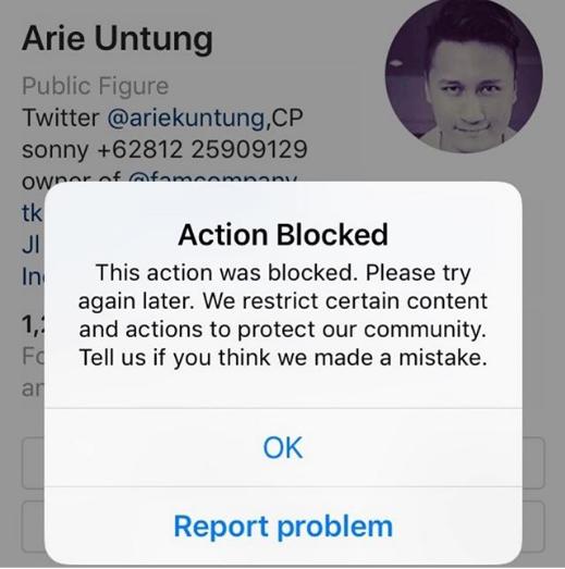 Akun Arie Untung Dianggap Berbahaya Oleh Pihak Instagram, Mengapa?