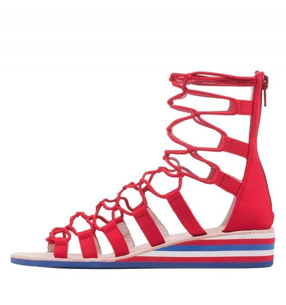 Red white and blue gladiator sandal by Jeffrey Campbell