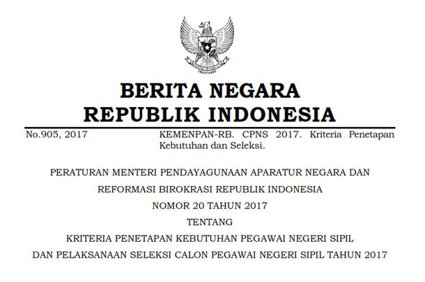 Berikut ini adalah berkas Permenpan RB Nomor  Permenpan RB Nomor 20 Tahun 2017 Tentang Kriteria Penetapan Kebutuhan PNS dan Pelaksanaan Seleksi CPNS Tahun 2017