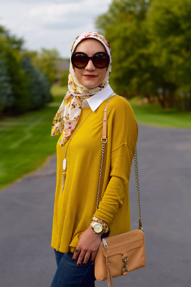 A Day In The Lalz; Chartreuse; Fashion; Modesty; Fashion Blog; Fall Beauty; Fall Trends; Fashion Style; Fashion Trends; Fall Fashion; Transition to Fall; H&M; Prada Sunglasses; Haute Hijab; Rebecca Minkoff Bag; Kendra Scott Necklace; J. Crew Flats