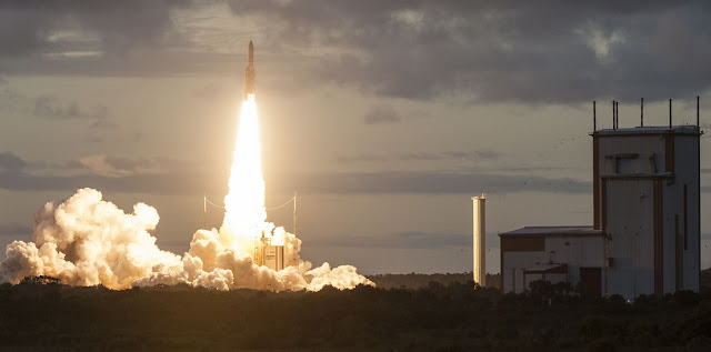 Ariane 5 blasts off from Kourou on June 18 with two communications satellites. Credit: Arianespace