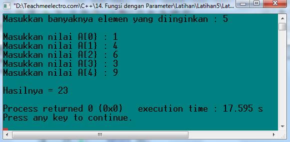 Latihan 5 Menggunakan Fungsi dengan parameter bertiper Array