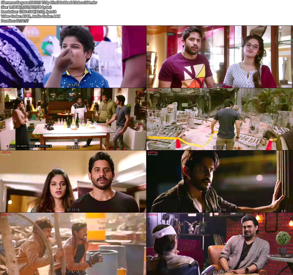 Savyasachi 2019 720p Hindi Dubbed ESubs x264 | 480p 300MB | 100MB HEVC Screenshot