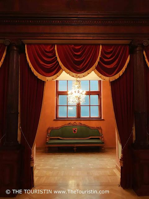 Latvia. House of Blackheads Riga, Celebration hall. Curtains. The Touristin