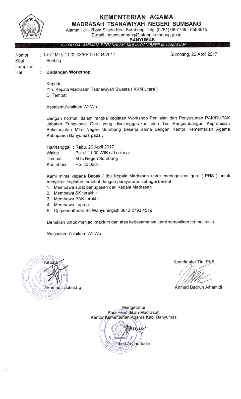 Pendidikan Madrasah Undangan Workshop Penilaian Dan Penyusunan Pak Dupak Jabatan Fungsional Guru Kkm Utara Mts