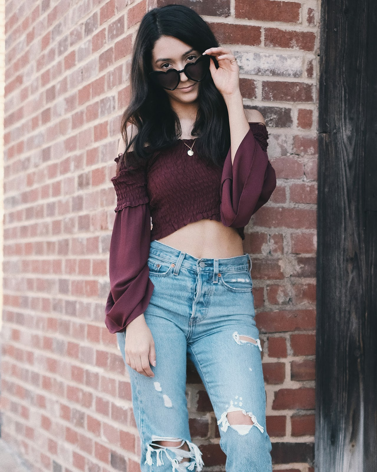 levis wedgie authentically yours, rue21 burugndy off the shoulder top, heart eye sunglasses
