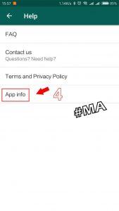Pilih App Info di Setelan WhatsApp