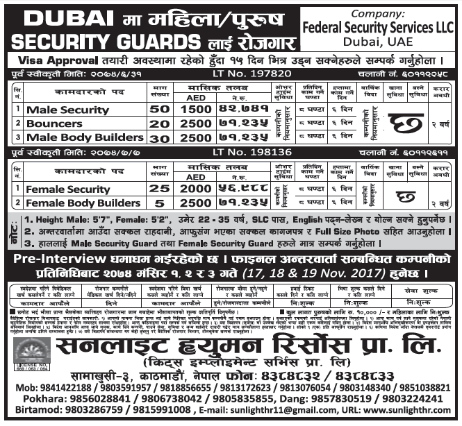 Jobs in Dubai Security Guards for Nepali, Salary Rs 71,235