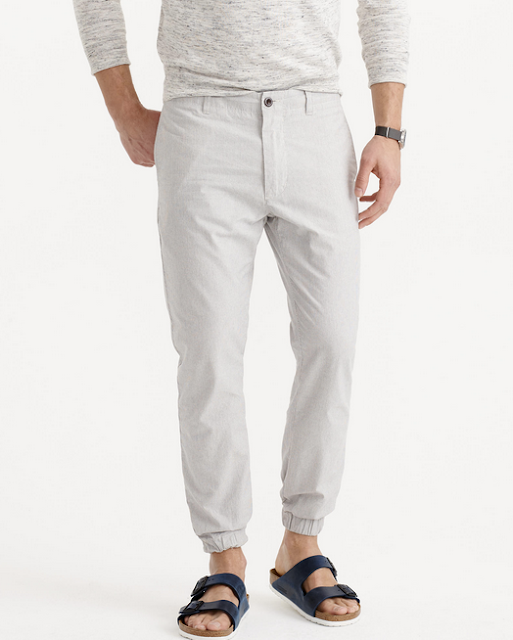 Gray Striped Cotton Jogger Pants
