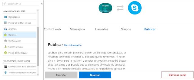 "Figura 19: Publicación ""oficial"" en Skype."
