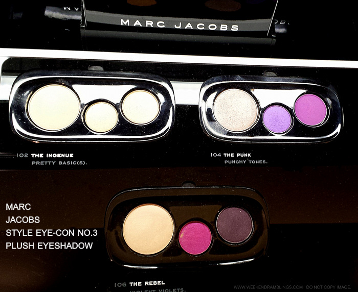 Marc Jacobs Beauty Style Eyecon No 3 Plush Eyeshadows Palettes Mod 112 Glam 108 Shoe Gazer 110 Ingenue 102 Punk 104 Rebel 106 Indian Darker Skin Makeup Blog Photos Swatches