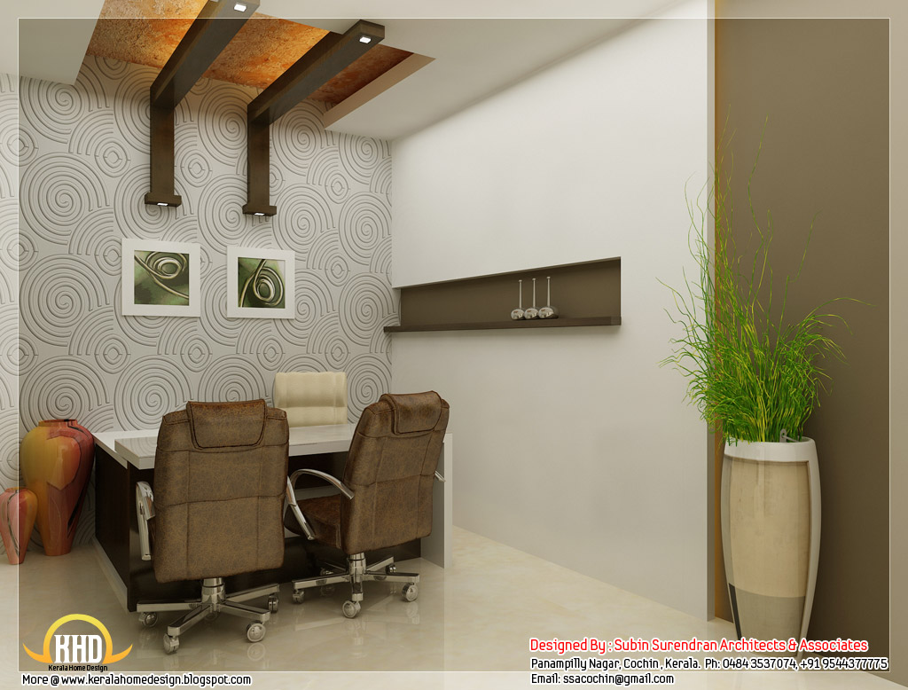 Beautiful 3d interior office designs kerala home design for Small office cabin interior design ideas