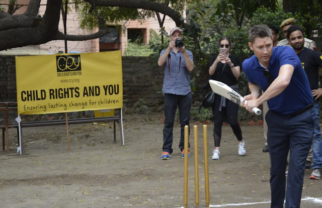 Michael Clarke meets underprivileged children from projects of CRY, plays cricket with girls' team