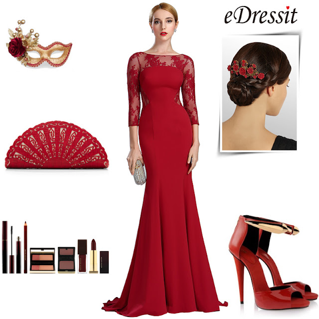 Deep Red Lace Formal Evening Dress with Sleeves
