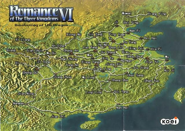 แผนที่จากเกม สามก๊ก 6 Romance of the Three Kingdoms VI