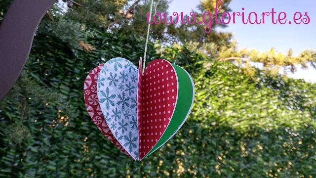 corazón de papel de navidad