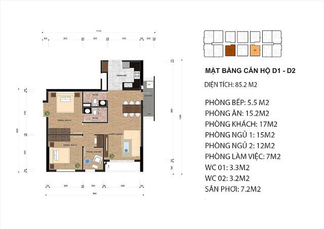 Thiết kế căn hộ D1 - D2 chung cư One 18 Ngọc Lâm