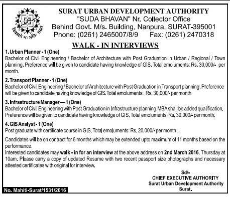 Surat Urban Development Authority Recruitment 2016